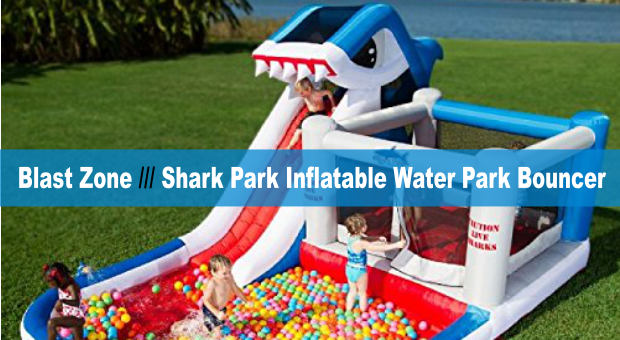 Blast Zone Shark Park Inflatable Water Park Bouncer cover
